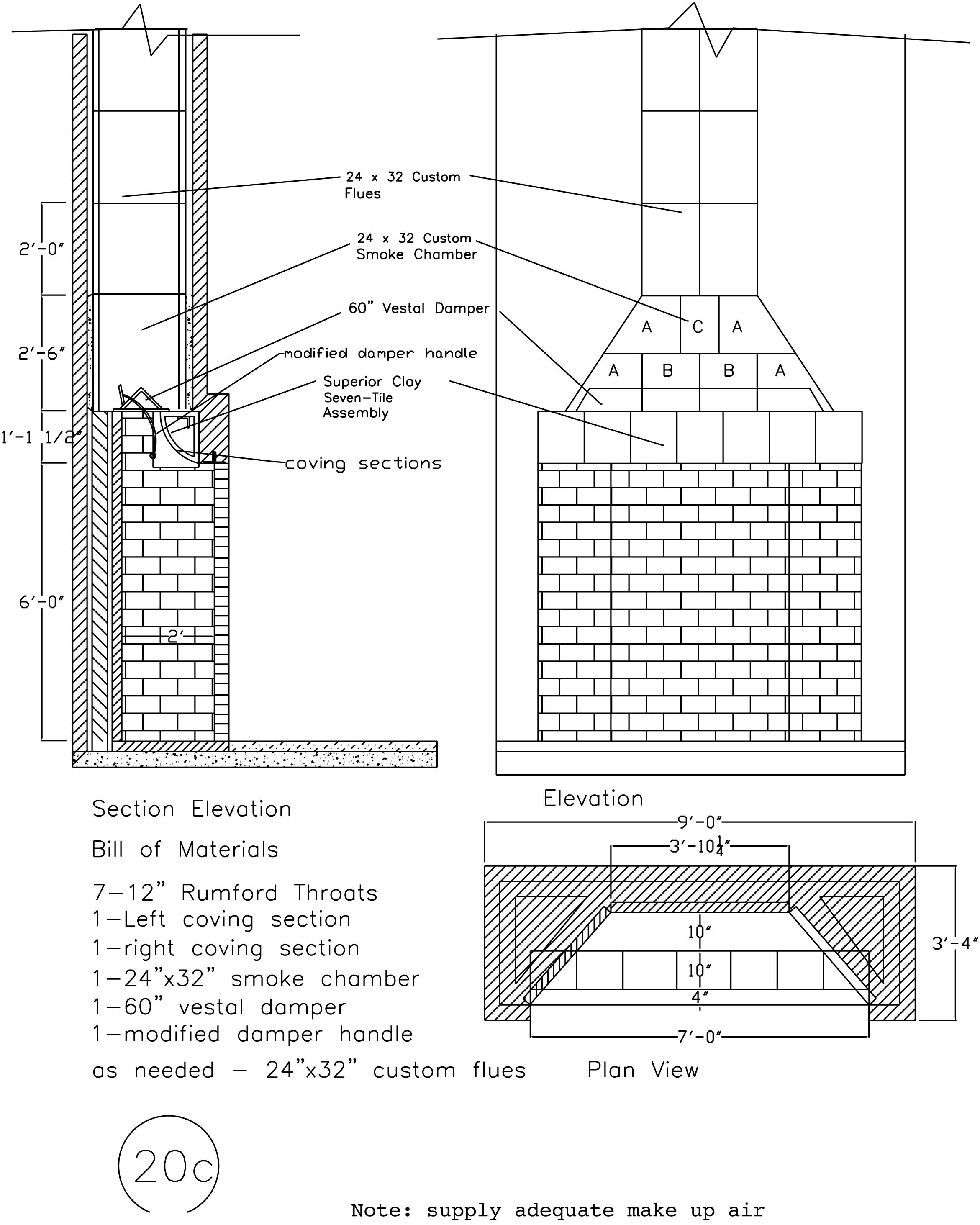 schematic with masonry fireplace dimensions illustration 1950 Willys Wagon  1952 Willys